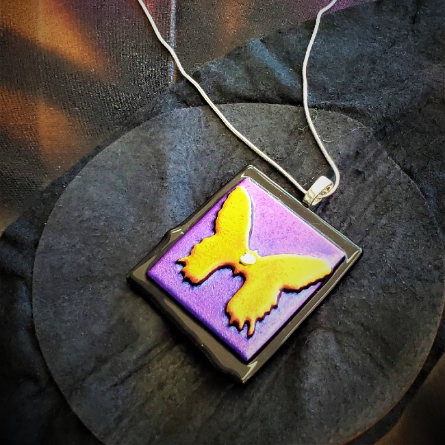 Square butterfly pendant